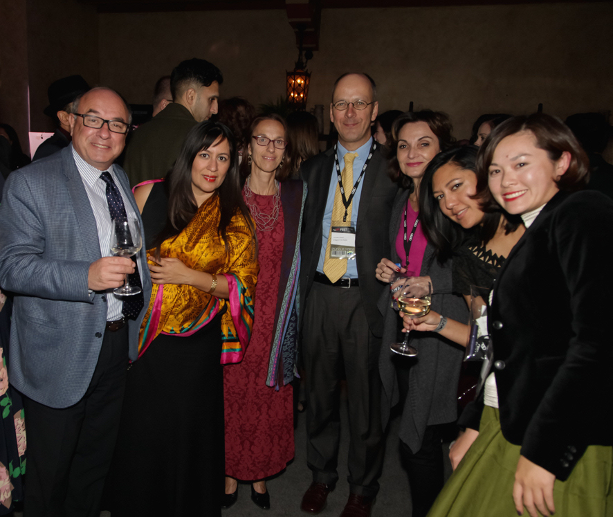 (L to R) Jean-François Lichtenstern (Consul General of Switzerland), Jasmine Jaisinghani (AFI FEST), Véronique Siklosi (Deputy Consul General of Belgium in Los Angeles), Alberto Mesirca, Giannina Toaxen, Brooke Iskra (Arclight Films), Lily Niu (AFI FEST)