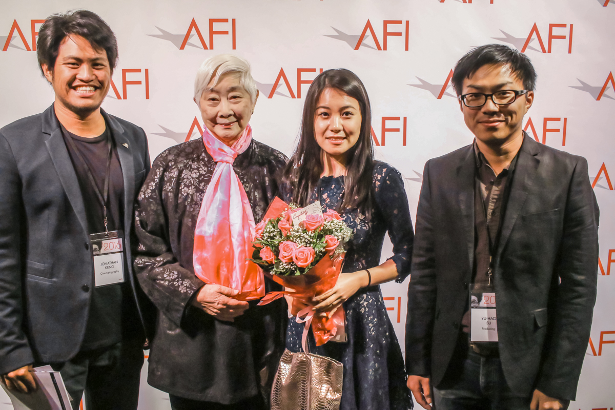 FATA MORGANA team, L to R: Jon Keng (writer/cinematographer), Lisa Lu (American actress/producer), Amelie Wen (writer/director), David Su (producer)
