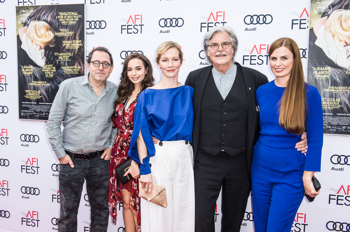 (L to R) Michael Barker (Sony Pictures Classics); Ingrid Bisu (actress, TONI ERDMANN); Sandra Hüller (actress, TONI ERDMANN); Peter Simonischek (actor, TONI ERDMANN); Janine Jackowski (producer, TONI ERDMANN). Cultural Support provided by German Films.