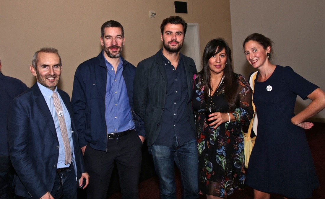 (L to R) Sebastien Cauchon (UniFrance); Nicolas Schaller (Le Nouveau Obs); Romain Blondeau (Vanity Fair, France); Jasmine Jaisinghani (AFI FEST); Aude Hesbert (UniFrance) at ELLE after-party