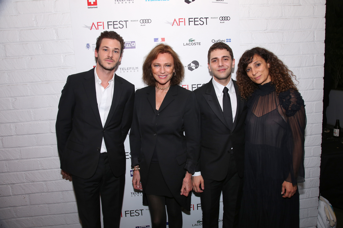 (L to R) Gaspard Ulliel (Actor, IT'S ONLY THE END OF THE WORLD); Jacqueline Bisset (Actress); Xavier Dolan (Director, IT'S ONLY THE END OF THE WORLD); Houda Benyamina (Director, DIVINES) at the Francophone Reception