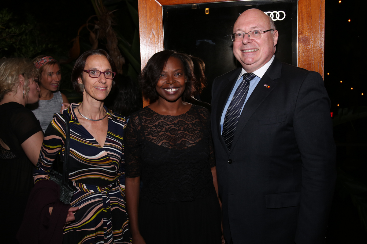 (L to R) Deputy Consul General General of Belgium, Veronique Siklosi; Jacqueline Lyanga (AFI FEST); Consul General of Belgium, Henri Vantieghem at the Francophone Reception