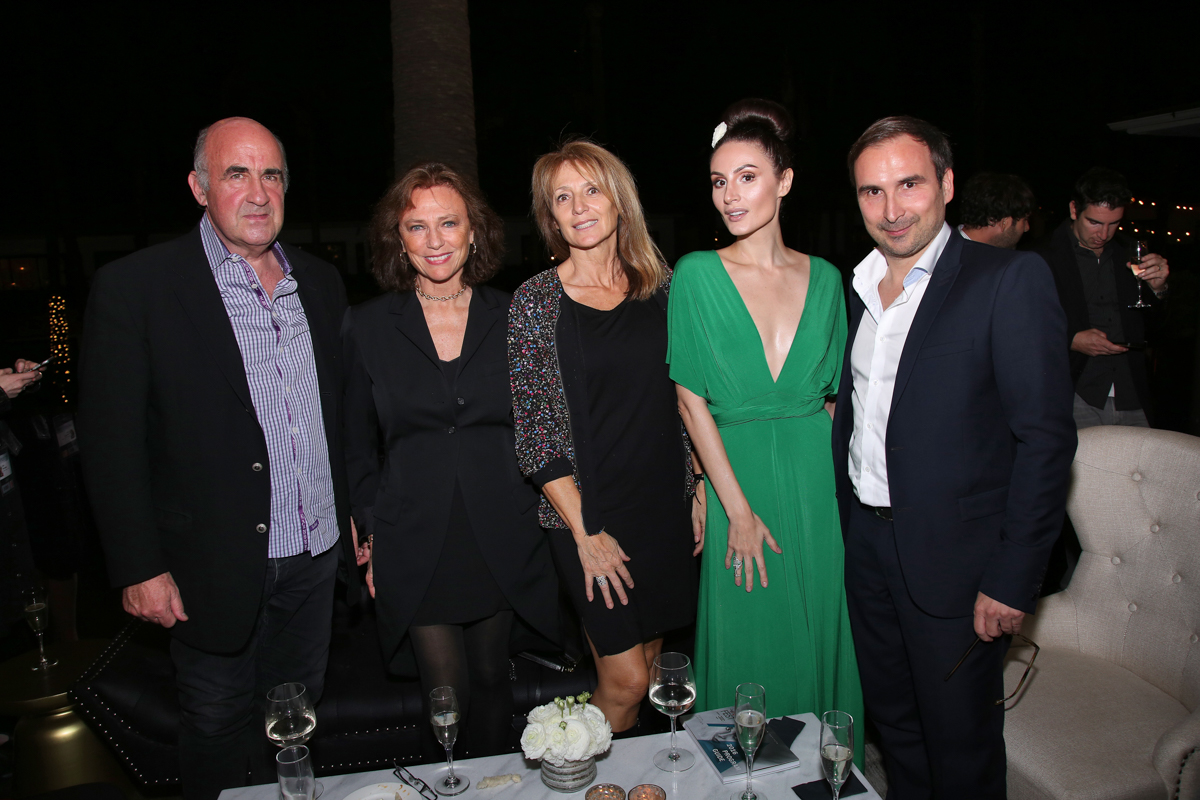 (L to R) John Laing; Jacqueline Bisset; Martine Laing; Elena Alexandra; Patrice Courtaban (COO, TV5MONDE USA) at the Francophone Reception