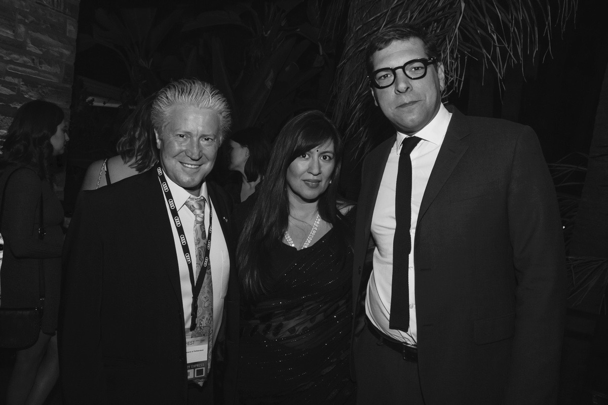 (L to R) Consul General of Switzerland, Emil Wyss; Jasmine Jaisinghani (AFI FEST); Consul General of France, Christophe Lemoine at the Francophone Reception