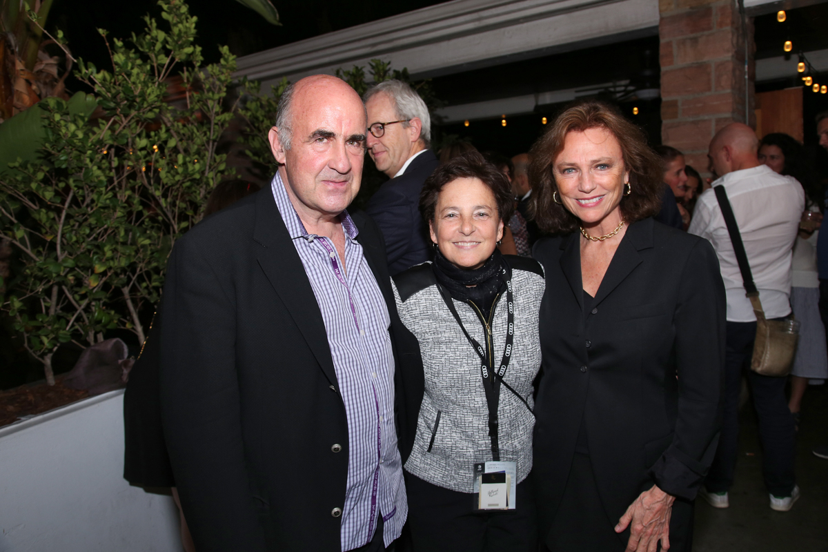 (L to R) John Laing; Nancy Harris (COO, AFI); Jacqueline Bisset at the Francophone Reception
