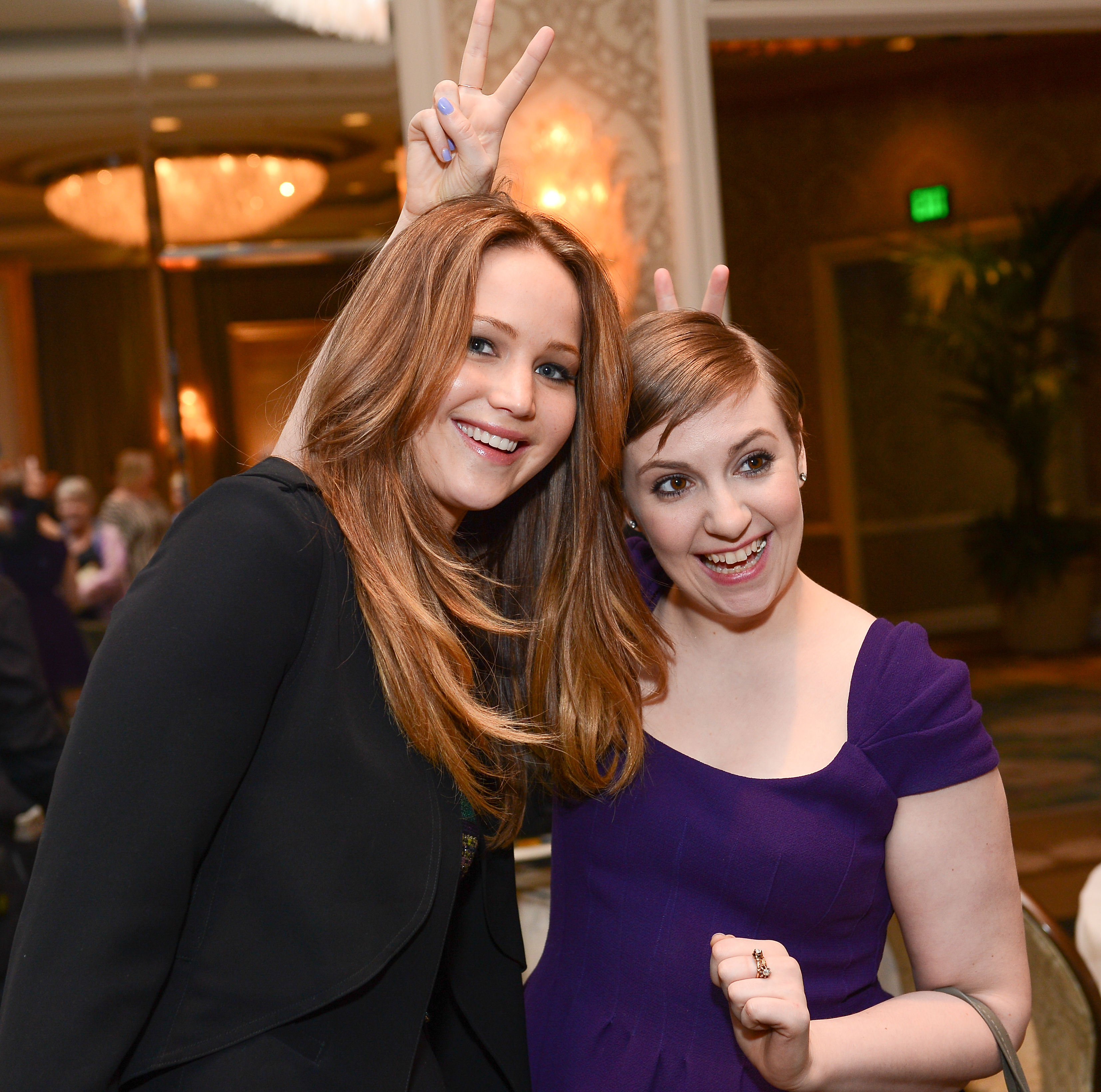 Jennifer Lawrence and Lena Dunham at the AFI AWARDS 2012 luncheon
