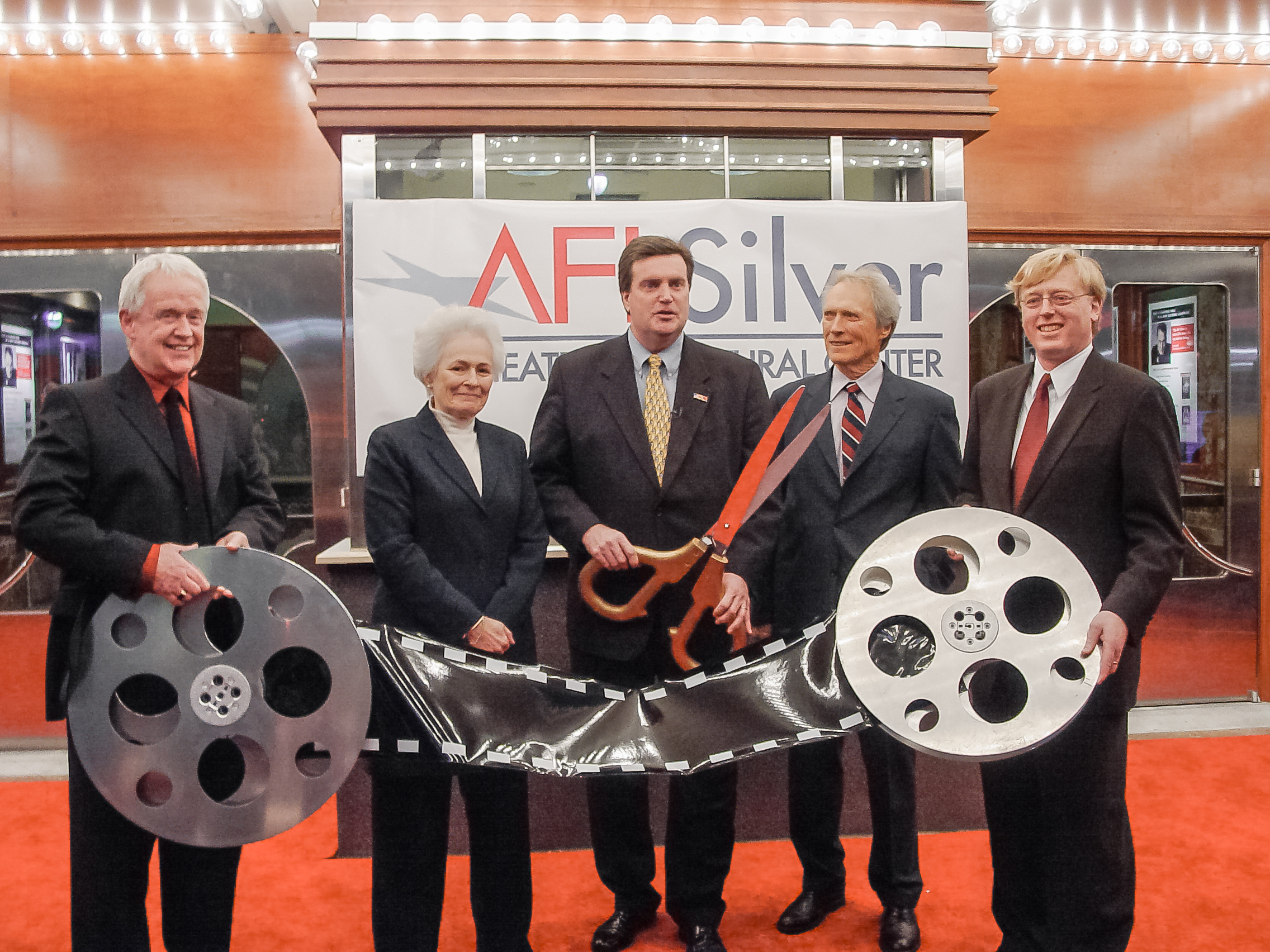 AFI Silver Theatre and Cultural Center Opening Night (L-R) James Hindman, Jean Picker Firstenberg, County Executive Douglas Duncan, Clint Eastwood and Ray Barry