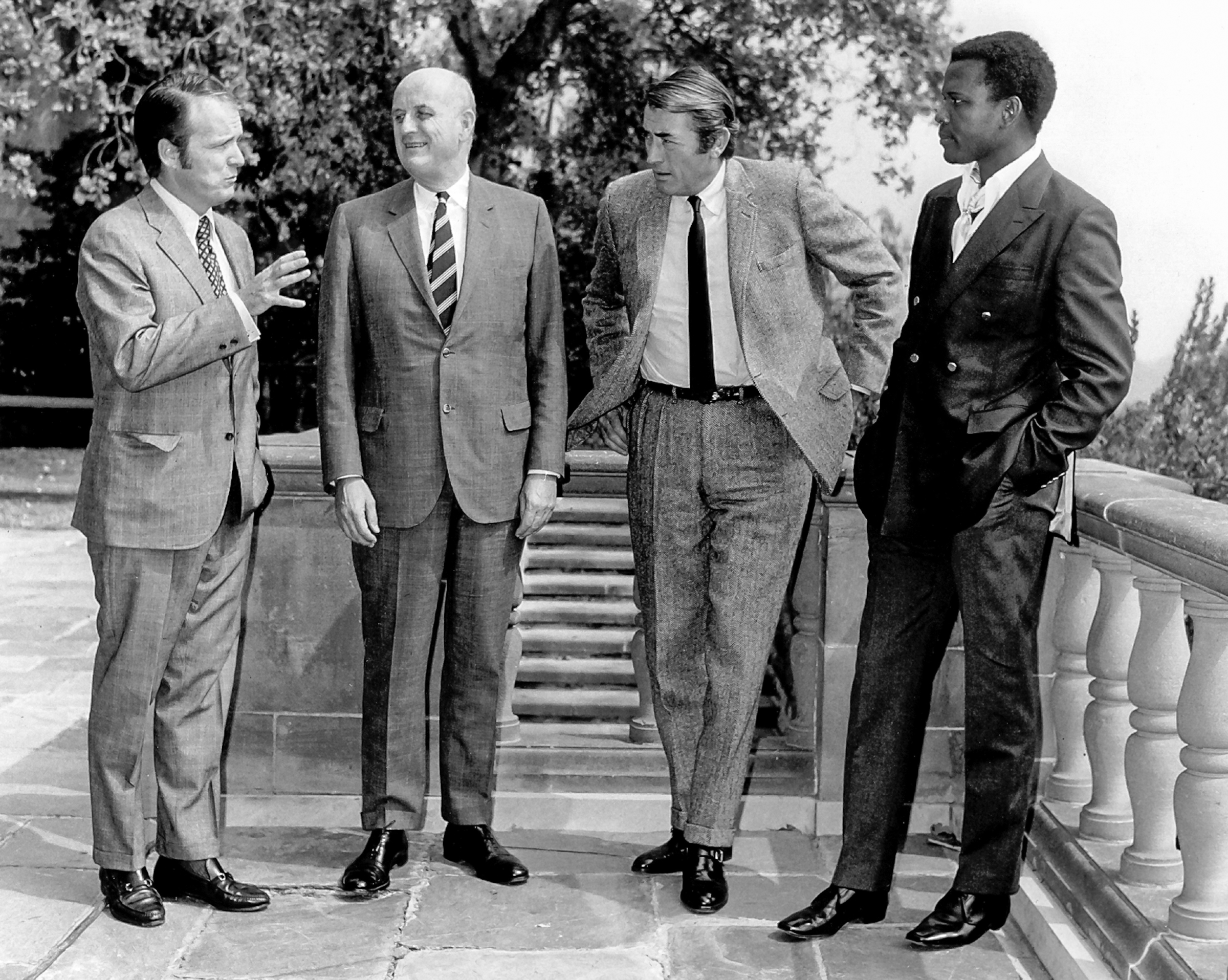 AFI's Founding Chairs and Leaders: George Stevens, Jr., Roger Stevens, Gregory Peck, Sidney Poitier.