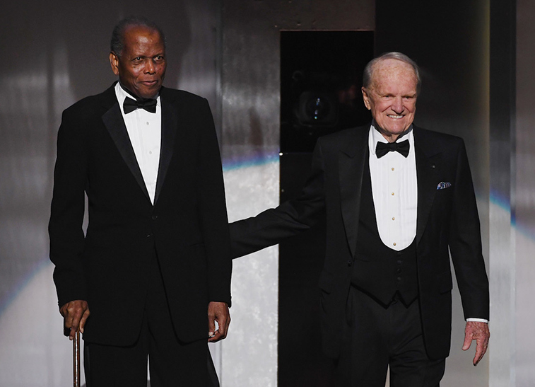 Sidney Poitier and George Stevens, Jr.