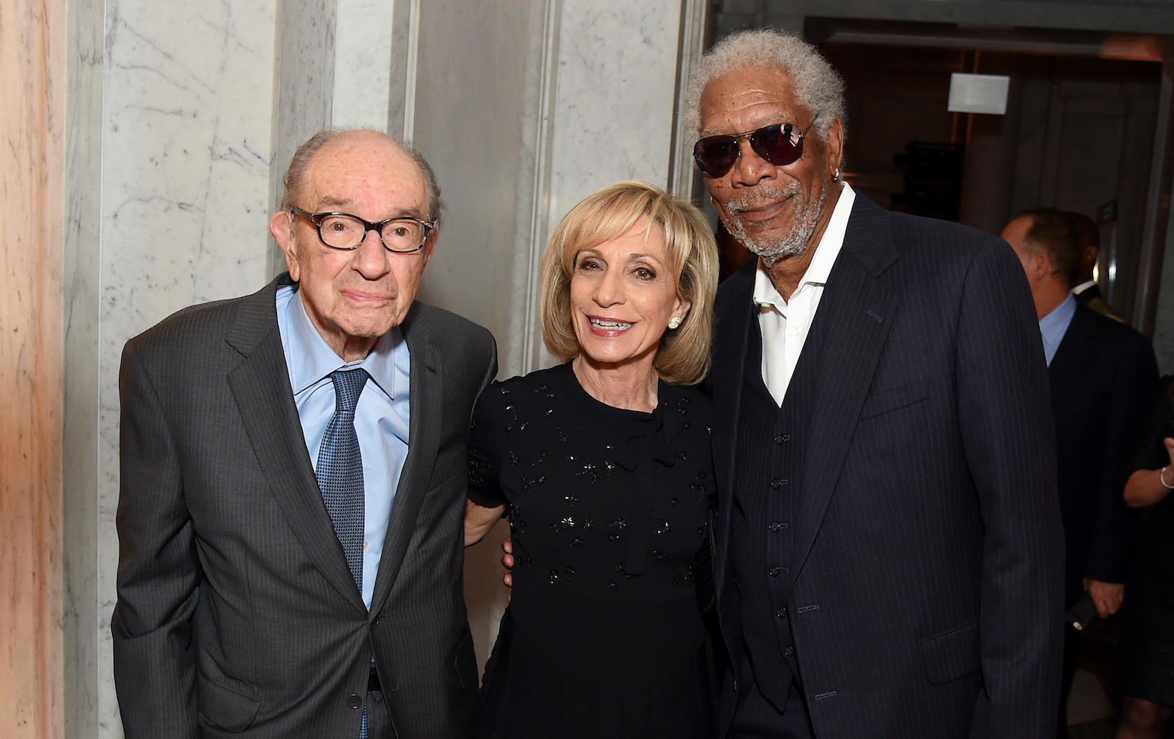 Former Chairman of the Federal Reserve Alan Greenspan, Andrea Mitchell and Morgan Freeman